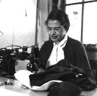 Rosa Parks sewing.