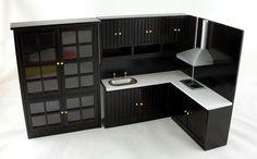 Dollhouse Miniature Modern Jacobean Dark Oak Kitchen Furniture Set
