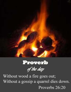 Without wood, fire goes out; without a gossip, conflict dies down. As charcoal for embers and wood for fire, so is a quarrelsome man for kindling strife. A gossip's words are like choice food that goes down to one's innermost being. Proverbs 26, Book Of Proverbs, Bible Scriptures, Biblical Verses, Bible Quotes, Earth Photos, Spiritual Wisdom, God First, Religious Quotes