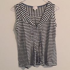 Anthropologie Pippi Tank Pleats, patterns, black and white stripes, and red stitches make up this darling tank top. In excellent, like-new condition. Anthropologie Tops Tank Tops