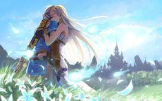 Computerspiele The Legend of Zelda: Breath of the Wild  Link Zelda Hug Wallpaper