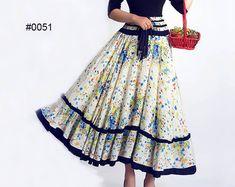 Woman maxi dress skirt   Flower Print  Cotton Skirt by xiaolizi, $36.99