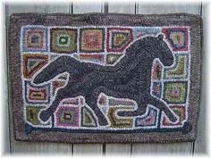 Primitive Patchwork Horse Hooked RUG Hooking Paper Pattern Punch Needle | eBay