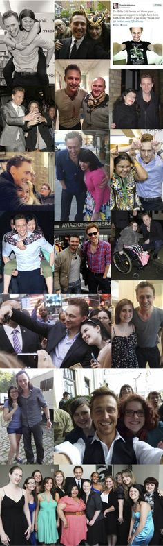 "Tom is Absolutely Amazing with his Fans. He is Kind, Graceful, Considered, Attentive, Engaging, Patient and Humble. He has probably beaten the world record of selfies on the internet. He signs autographs, carries fans, and is never rude or arrogant. Tom's Fans are called Hiddlestoners and even have their own special language and code of conduct.""Tom Hiddleston is by far one of the nicest celebrities I've ever met. I caught him while he was walking out of his trailer eating a ""chocolate…"