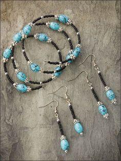 Beading - Jewelry Patterns - Sets Patterns - Black & Turquoise Set patron disponible #Bisuteria #Bisuterias #Bisuteriafina #costarica