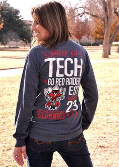 Vintage Charcoal Go Red Raiders w/ Raider Red Long Sleeve Tee