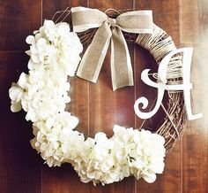 Monogrammed White Hydrangea Grapevine Wreath with a Satin & Burlap Bow. via Etsy