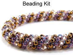 Twist and Shout Tubular Peyote Bracelet in Amethyst Purple, Bronze and Rosaline Pink Beading Kit