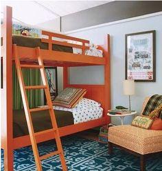 Bunk beds, orange and blue
