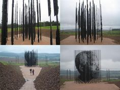 What do you think of this sculpture by artist Marco Cianfanelli, of Johannesburg?    It consists of 50 ten metre high laser cut steel plates set into the landscape, representing the 50 year anniversary of Nelson Mandela's arrest, on August 6, 1962 prior to his 27 years of incarceration.     Nelson Mandela's image can be seen by standing at a certain point where columns come into focus.