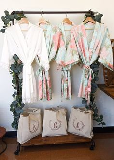 You'll love our floral bridal party robes! These personalized bridesmaid robes make the best bridesmaid gift. Bridal party robes satin will look so pretty in your bridal party robes pictures! These floral satin bridesmaid robes will be perfect for bridesmaid robe pictures. We have flower girl robes, bridal robes & bridesmaid robes in several floral patterns. Looking for solid color bridal party robes? Check our site - we have those too & other affordable bridal party robes. #bridalpartyrobes