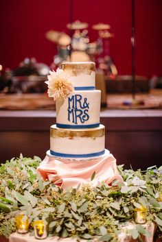 Four-Tier Gold-Brushed Cake