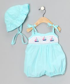 Aqua Sailboat Bubble Romper & Bonnet - Infant