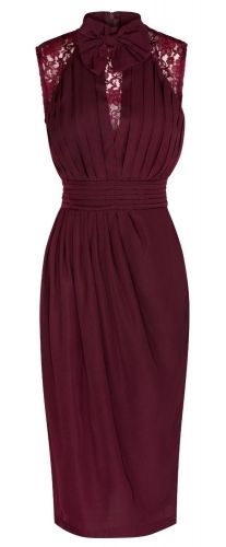 Burgundy Bow & Lace Darted Vintage Evening Dress. Perfect to give the Golden age silver screen actress Hollywood entrance.
