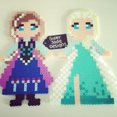 Anna and Elsa - Frozen perler beads by SuperJade Designs