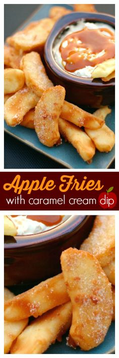 These Apple Fries with Caramel Cream Dip are the perfect warm dessert for a crisp Autumn evening. It made our house smell like apple pie. via @favfamilyrecipz (Cheese Chips)