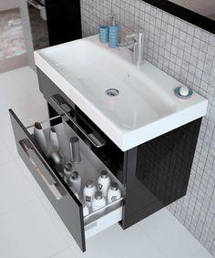 Czarna szafka łazienkowa Elita Barcelona z pojemnymi szufladami funkcją cichego domyku oraz pełnego wysuwu. ---------------------- #elita #showerdesign #meble #meblelazienkowe #umywalka #budowadomutrwa #przebudowadomu #inspiracjelazienkowe #modernbathroom #sink #sinkbath #tiles #livingroom #toilet #bathrom #instagood Barcelona, Sink, Black, Home Decor, Products, Sink Tops, Vessel Sink, Decoration Home, Black People