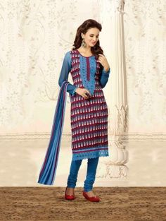Multi Color Chanderi Suit with Embroidery Work