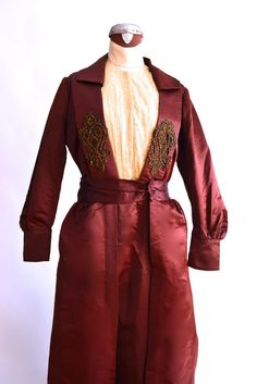 Edwardian Dress, Silk, Beaded, Burgundy/ 1910, Gown, Lace, beaded/ Downton Abbey, Museum quality