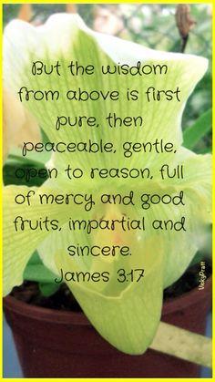James 3:17 Christian faith Bible verse.  Spiritual inspiration and growth.     God's wisdom is ...