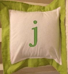 *** Color-trimmed pillow cover with 1 letter monogram ***  This darling color-trimmed pillow cover will add a pop of color to any room. Made of