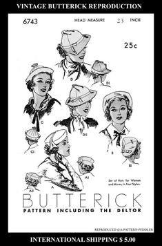 """Pattern Sewing 4 SEXY Hats Millinery Fascinator 1930's Vintage BUTTERICK #6743  Fabric Material sew Reproduction / Copy 22"""""""