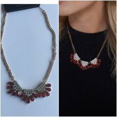 NWT faux stone fan pendant statement necklace Brand new in burgundy Jewelry Necklaces