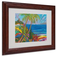 Manor Shadian 'Blue Sea with 2 Boats' Matte, Wood Framed Wall Art ( Matte, Wood Frame 11x14 (Print is 8x10))