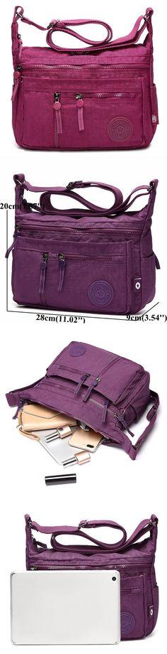US$19.99 Ten Colors Nylon Casual Lightweight Multi-pocket Shoulder Bags Crossbody Bags For Women