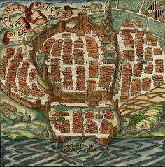 Mappa di Cagliari di Sigismondo Arquer dalla Cosmographia di Sebastian Munster - 1550