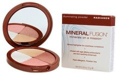Mineral Fusion Illuminating Powder, Radiance, .28 Ounce. Luminous Complexion: Four universally flattering shades of silky, light-reflecting minerals blend together and apply effortlessly to highlight and illuminate, leaving skin softly glowing. Wear alone or layered on top of blush or bronzer for added color. Age-Defying: Pomegranate, Red Tea, White Tea and Sea Kelp, plus Vitamins C and E defend against free radical damage for a healthy radiance. Skin-Soothing: Formulated with only the...