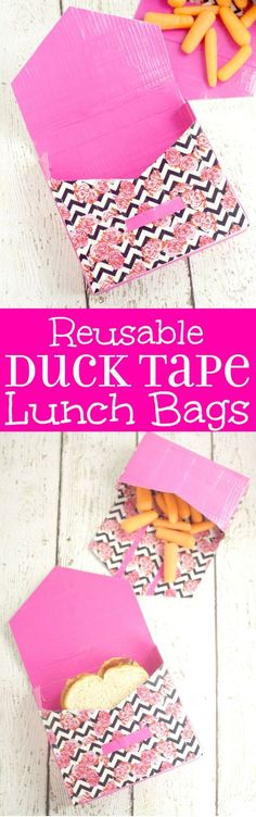 DIY Reusable Duck Tape Lunch Bags are a fun DIY back to school supplies idea. You can personalize these cute school supplies however you want! (Diy Bag For School) Diy Back To School Supplies, Diy Projects For School, Duct Tape Projects, Duck Tape Crafts, Diy Bag Charm, Personalized School Supplies, Tapas, Morris, Couture