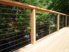 Deck, patio, porch, balcony cable railing - modern - deck - by Ultra-tec Cable Railing by The Cable Connection Staircase Railing Design, Patio Railing, Cable Railing, Deck Stairs, Railings For Decks, Deck Railing Ideas Diy, Rebar Railing, Decking Ideas, Deck Alternatives