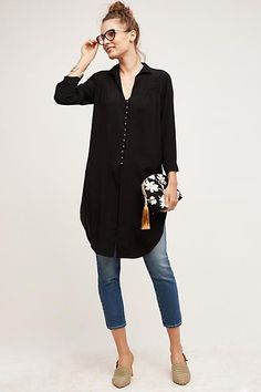 Black tunic Shirt dress styled with jeans. similar style available on siizu.com
