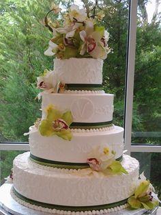 elegant cakery- green ribbons??! $750