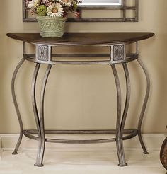 Montello Console Table (Old Steel Finish). The Montello Console Table with Wood Top is available in a Old Steel finish. Metal Furniture, Sofa Furniture, Living Room Furniture, Furniture Showroom, Living Rooms, Half Moon Table, Hillsdale Furniture, Nebraska Furniture Mart, Sofa Tables