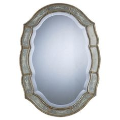 Beveled wall mirror with floral detail and antiqued golden trim.   Product: Wall mirror Construction Material: Mirror...