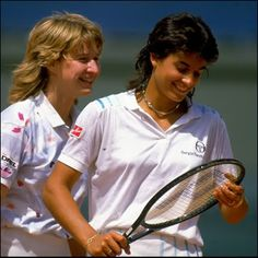 Steffi Graf and Gabriela Sabitini when they were doubles partners. Too bad their singles rivalry put a stop to them playing doubles together. They made a good team, winning a Wimbledon doubles title and were finalists in several French Open Finals.