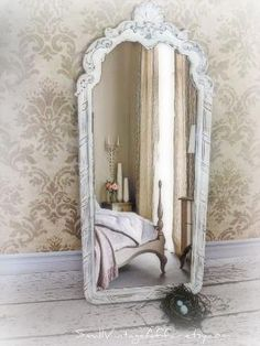 bedroom/shopping - Long French Mirror Vintage White Mirror by smallVintageAffair Paris Rooms, Paris Bedroom, Dream Bedroom, Bedroom Decor, Bedroom Ideas, Master Bedroom, Full Body Mirror, Long Mirror, Diy Mirror