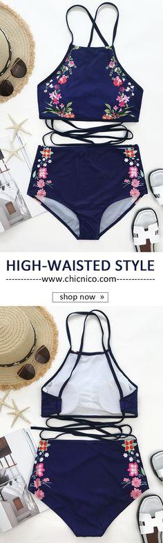 $25.99 Chicnico Harmony High Waisted Printed Tank Bikini Set