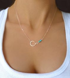 Silver Turquoise Necklace - Infinity Necklace - Circle Eternity Necklace - Small Beaded Turquoise Necklace - Dainty Delicate Gift Jewelry
