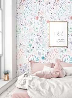 Wild Flowers Mural Wallpaper, Watercolor Floral Wall Art, Peel and Stick Wall Mural - home decor - Accent Wallpaper, Wall Art Wallpaper, Mural Wall Art, Trendy Wallpaper, Fabric Wallpaper, Spring Wallpaper, Peel And Stick Wallpaper, Bts Wallpaper, Art Mural Floral