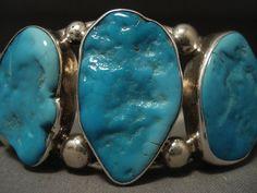 Grande e grosso Navajo turchese argento Bracciale di NativoArts