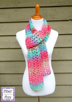 The Island Lace Scarf is colorful, airy, and lacy...like a fresh tropical breeze! Using super easy stitches, it works up in no time at all too. Perfect on a day if you need just a little something o