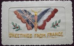 Ww1 patriotic embroidered silk #postcard. ( #butterfly ) #greetings from france.,  View more on the LINK: http://www.zeppy.io/product/gb/2/252625613913/