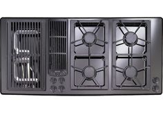 "The gas cooktop insert: flexibility and feature set fundamental to the Kitchen Revolution.  (This is a Jenn-air 45"" downdraft unit with grill)"