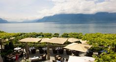 Restaurant's terrace, view on the Alps and Lake Geneva Vevey, Destinations, Lake Geneva, Hotel Spa, Days Out, Along The Way, Restaurant, Switzerland, Terrace