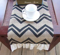 "Burlap Chevron Table Runner with ruffled bottom, Unique Burlap runner, Long Table Runner, 72"", 90, 102"" -Wedding & entertaining table accent..."