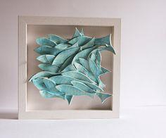 ceramic wall art School of Fish pottery tile ceramic by karoArt, €88.00