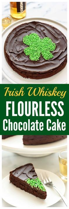 CHOCOLATE + BOOZE! This flourless chocolate whiskey cake is the BEST, most decadent dessert you will ever make. It's gluten free, and everyone loves it! FREE PRINTABLE for making the shamrock shape. Perfect St. Patrick's Day dessert recipe, but you'll want to make it year round! | www.wellplated.com @wellplated